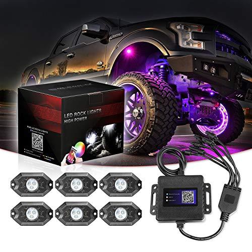 SWATOW 4x4 RGB LED Rock Lights, 6 Pod Multicolor Neon LED Lights w/Bluetooth Control Underglow Trail Rig Lights Wheel Rock Lights for Truck Car ATV UTV