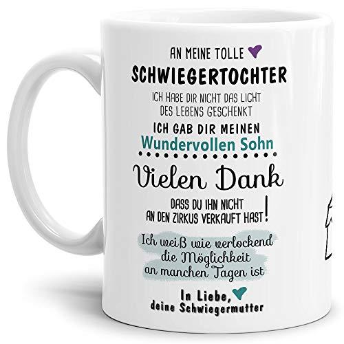 Tassendruck Tasse mit Spruch Zirkus - an Schwiegertochter von Schwiegermutter- Leben/Liebe/Geschenk/Familie/ - Weiß