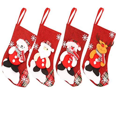 HOWAF 4pcs 23cm Medias de Navidad Bolsa de Regalo Calcetines de Navidad para el árbol de Navidad Chimenea Decoración Colgante Calcetín de Navidad Santa, Reno, Muñeco de Nieve