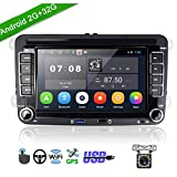 Car Stereo Double Din Android 2G+32G Headunit Autoradio for VW Golf Passat Tiguan Polo Jetta Skoda Seat 7' Touch Screen Car Radio with GPS Navigation Bluetooth,WiFi,USB,FM + Rear View Camera