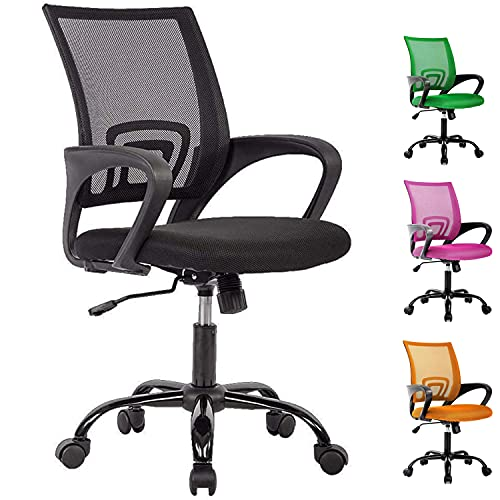 Office Chair Computer Desk Chair Ergonomic Cheap Mesh Office with Wheels Back Support Armrest Adjustable Height Rolling Swivel Computer Task Works Chair for Women Men, Black