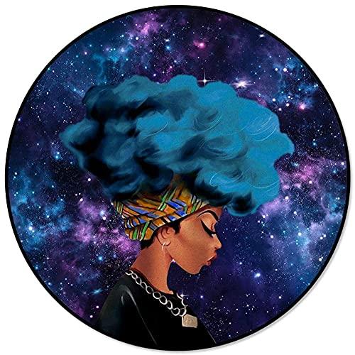 YANJ Alfombra Redonda de Cielo Estrellado Azul para Mujer Negra Africana para Sala de Estar, Dormitorio, Silla Antideslizante, Alfombrillas para habitación de niños, Felpudo-D 80