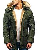 BOLF Hombre Chaqueta de Invierno Parka Abrigo con Capucha Estilo Casual J.Boyz 1071 Verde XXL [4D4]