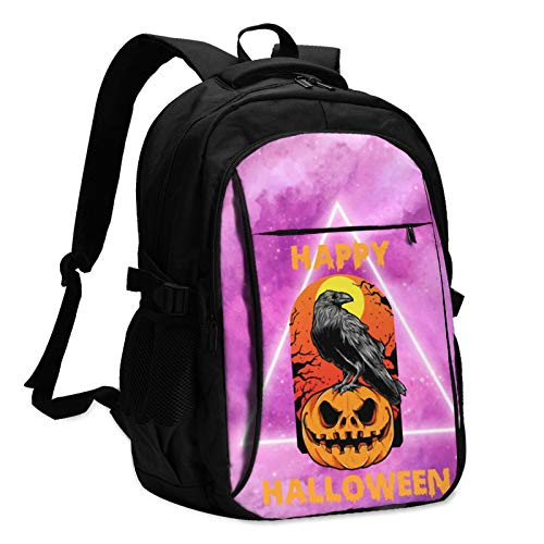 USB Large Capacity Travel Business Backpack, Halloween Creepy Picture 17-Inch Laptop Bag