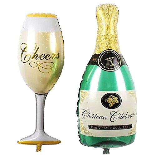 Demiawaking 2pcs/lot Palloncini di Alluminio a Forma di Bottiglie di Champagne e Tazza Decorazione per Natale Festa Compleanno