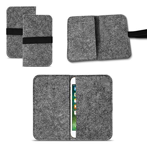 UC-Express Universal Smartphone Cover Tasche Handytasche Case Hülle Schutzhülle Sleeve Filztasche mit Kartenfach, Farbe:Dunkel Grau, Smartphone:Elephone S3 Lite