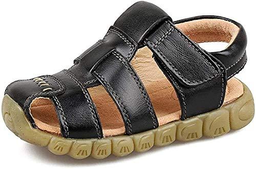 Gaatpot Unisex-Kinder Sandalen Mädchen Jungen Kindersandale Geschlossene Leder Sandale Sommer Sandaletten Lauflernschuhe Schuhe Schwarz 25.5 EU/26 CN