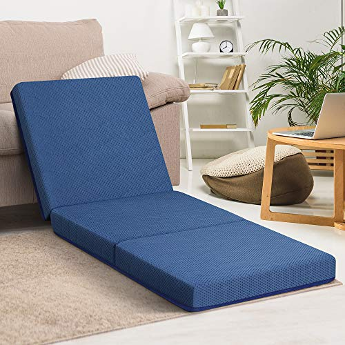 PrimaSleep 4 inch Tri-Folding Topper, Single, Blue, Supportive Memory Foam, Best for Visitors Sleepovers Car Trips Camping or Dorm Room Bed (Blue)