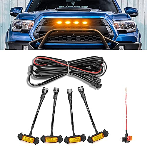 LED Grille Lights for Tacoma, AAIWA Amber Grill Lights with Fuse for Tacoma TRD PRO Front Grille 2016 2017 2018, 4PCS Amber Shell with Amber Yellow Light