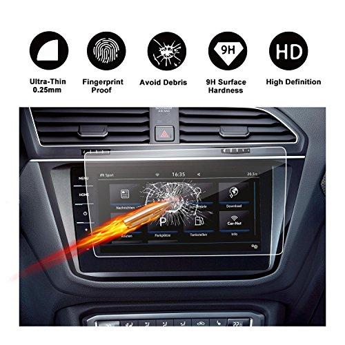 Gehard glas beschermfolie voor het navigatiesysteem van (2017) (2018) Volkswagen VW Tiguan II GTE Allspace onzichtbare displaybeschermfolie schermfolie glasfolie transparante folie RUIYA