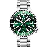 SD1976 Reloj de buceo automático para hombre, 100 bar, verde, con correa de acero inoxidable, cristal de zafiro, bisel de cerámica
