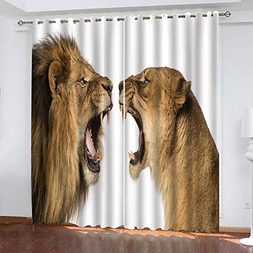 ZXPAG Cortina Opaca Para Salón O Dormitorio, Diseño Moderno, Con Ojales, Opaca, Térmica, Aislante Antifrío 3D - 264X210Cm - Aullido De León Animal