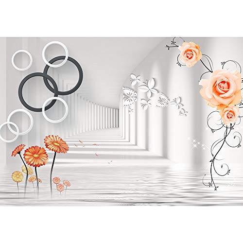 SUMGAR Modern zwart en wit behang lijm muur muurschilderingen Grijs voor kantoor,250x360cm 250x360cm Rosebutterfly