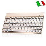Dingrich Italiana Tastiera Bluetooth con 7 Colori Retroilluminato Universale per iPad Tablet TV Smartphone PC Mac, Compatibile con Sistemi Android, iOS e Windows - oro