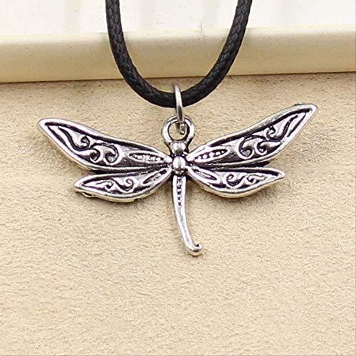BEISUOSIBYW Co.,Ltd Collar con Colgante de libélula de Color Plateado Tibetano, Gargantilla, Encanto, cordón de Cuero Negro, joyería Hecha a Mano