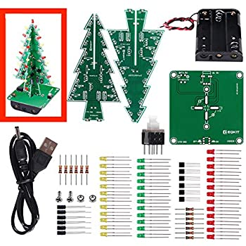 ACEIRMC RGB LED Flashing Christmas Tree DIY Kits Electronics Soldering Colorful 3D Xmas Tree DIY Module Funny Kits PCB Board for Soldering Practice Learning