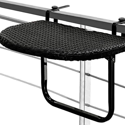 Balkontisch Hängetisch Polyrattan Klapptisch Balkon Tisch Rattan Gartenmöbel schwarz klappbar