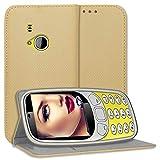 mtb more energy® Schutz-Tasche Bookstyle für Nokia 3310 (2017) / Nokia 3310 Dual (2.4'') - Gold - Kunstleder - Klapp-Cover Hülle Wallet Hülle