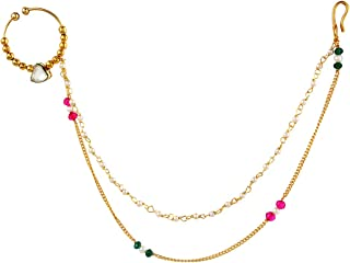 Long Nath Nathiya Chain Nose Ring Indian Jewelry for Women