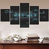 Thznmg Stampa su Tela Moderna 200X100 Cm/ 78.8'X 39.4'Arte Murale Modulare Poster Decorazioni per La Casa Lettere Immagini su Tela 5 Pezzi Scienza E Tecnologia Moderne Stampate in HD