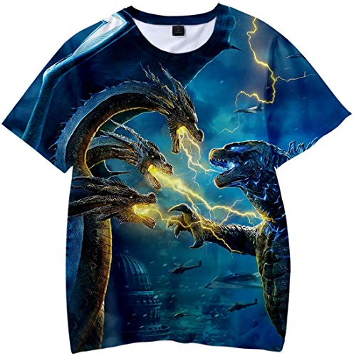 Imilan Kid's Novelty 3D Shirts Unisex Godzilla 2 King of Monsters Printed Hooded Pullover Top Tee(6-7 Years/Tag Size 130cm,Battle)
