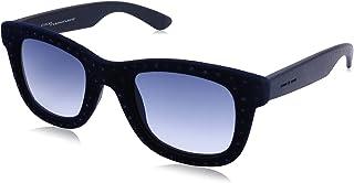 نظارة شمس شبه مربعة بعدسات ازرق متدرج وشنبر قطيفة مزين بفصوص للنساء من ايطاليا انديبندنت - كحلي