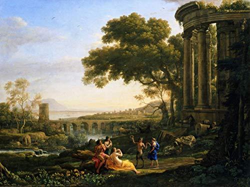 Berkin Arts Claude Lorrain Giclée Leinwand Prints Gemälde Poster Reproduktion(Landschaft mit Nymphe und Satyr tanzen)