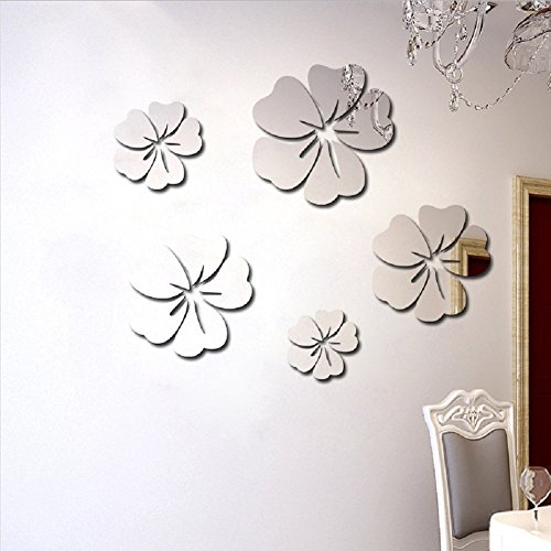 Toifucos Adesivi da Parete a Specchio, Fiore di Ibisco Adesivi Murali Removibile DIY 3D Specchio Adesivo Murali per Casa Salotto Camera da Letto Creativi Decorazione, 5pcs