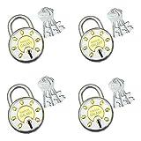 Ramson Round Steel Galaxy 65 MM 8 Levers Double Locking 3 Keys Padlock Pack of (2+2=4)(Silver).