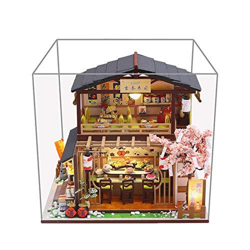 Kit De Muñecas De Muñecas De Estilo Japonés De DIY, Sala De Casas De Muñeca De Madera Con Luces LED, 3D Realista Hecha A Mano Con Restaurante Sushi, Mejores Regalos De Cumpleaños Para Mujeres Y Niñas