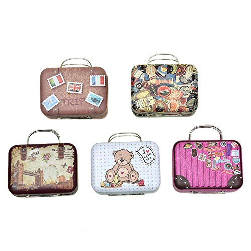 Monrocco 5PCS Mini Small Iron Vintage Cartoon Tin Box Suitcase Handbag Small Rectangular Candy Box Tin Container Jewelry Coin Storage
