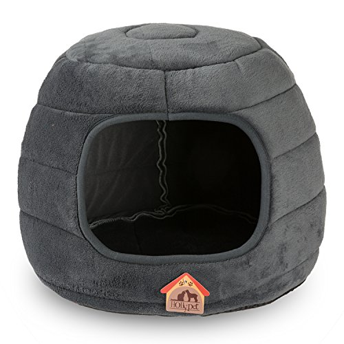 "Hollypet 16""×16""×12.5"" Coral Velvet Self-warming 2-in-1 Foldable Cave Shape High Elastic Foam Pet Cat Bed for Cats and Small Dogs, Dark Gray"