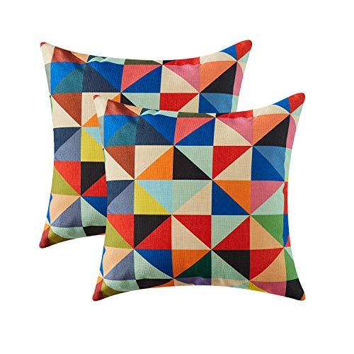 Topfinel Colorido geométrico algodón Lino Fundas de cojín para sofá Almohadas Home Decorativo Juego de 2, 50x50cm,triángulo
