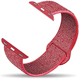 D'VOGUE Premium Quality Breathable Nylon Replacement Band Compatible with Apple watch iWatch Series 6/5/4/3/2/1 - Hibiscus...