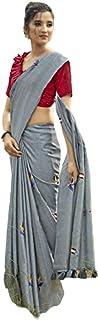 Tussar Silk Weaving Formal Light Embroidery work Saree Blouse Simple Woman Office Sari 6233
