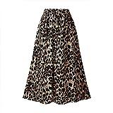 XIELH Faldas para Mujer Falda de Talla Grande de Primavera, Verano y otoño para Mujer Falda de Cintura elástica de Longitud Media con Estampado de Leopardo-Café, 5XL
