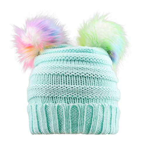 ACTLATI Kids Winter Knitted Beanie Hat Colorful Pompom Ears Ski Hat for Boy Girl(Ages 7-12) Blue