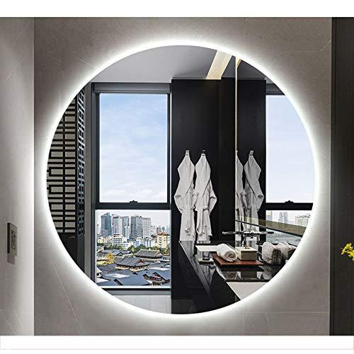 Specchio da Bagno Rotondo a LED Illuminato, appoggio con Touch a Parete, Luce Bianca Naturale 60   70cm