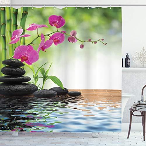 ABAKUHAUS Spa Duschvorhang, Bambus-Baum-Orchideen-Steine, mit 12 Ringe Set Wasserdicht Stielvoll Modern Farbfest & Schimmel Resistent, 175x220 cm, Anthrazit grau Lindgrün Fuchsienfarben