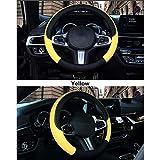 XINGJU Volante del Coche Coversoft Microfibra de Piel, Transpirable, Antideslizante y Agarre cómodo (Color : Yellow)