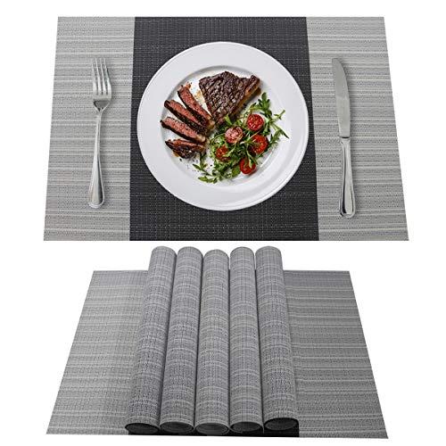 YOLOKE 6er Set Platzsets,waschbar rutschfeste Wärmedämmung gewebt Vinyl Tischsets für Küche Esstisch Tischsets 30x45cm (grau)