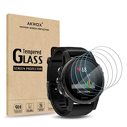 AKWOX [4 Unidades] Vidrio Templado Garmin Fenix 5S