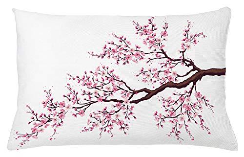 ABAKUHAUS Japans Sierkussensloop, Tak van Sakura Blossoms, Decoratieve Vierkante Hoes voor Accent Kussen, 65 cm x 40 cm, Roze Dark Brown