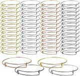 UPINS 60 Pcs Expandable Bangle Bracelets Adjustable Wire Bracelets, Blank Bangles for DIY Jewelry Making
