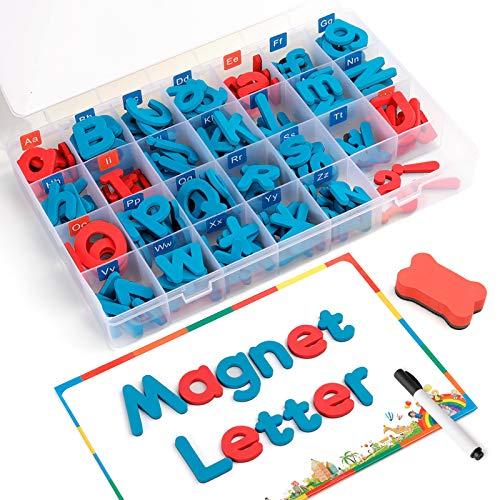 Coogam Lettere magnetiche 208 Pz Board & Storage Box maiuscole/minuscole Schiuma Alphabet ABC del Frigorifero del Frigorifero Set Giocattolo educativo Aula Spelling