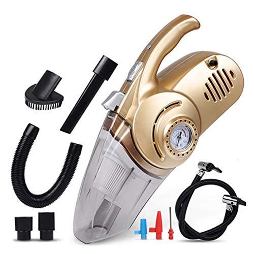 Aspiradora de coche Aspirador portátil de vacío al vacío Auto Vacuum 4 en 1 Coche COMPRESOR DE AIRE COMPRANTIDO BOMBA DE AIRE BOMBA MINI CLEABLE CLEAPORTE PARA HOGAR Limpiar al polvo (Color : Gold)
