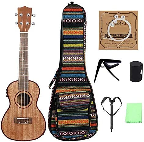 ZAGO Guitarra acustica Bolsa/Cuerdas/Capo/Correa/Dedo de Martillo con Bolsa de 24 Pulgadas de Madera de Color Electroacústica Ukulele para Principiantes/niños (Color : C1, Size : 24 Inch)
