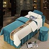 Conjuntos de lías de cama de lujo conjuntos de cam Cubierta de camada de salón de belleza de alta gama Conjunto de 4 piezas Edredón grueso,color sólido Cubierta de cama de masaje europea Velvet
