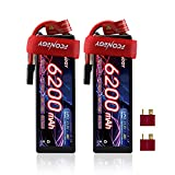 FCONEGY 11.1V 60C 6200mAh 3S Lipo Battery Hard Case with Tracxas Plug and Deans T Connector for RC Car Trucks Truggy Boat 1/8 1/10 RC Vehicles (2 Pack)