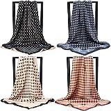 KAVINGKALY Lady foulard carré en satin pour femme soie foulard carré pour femmes grande taille mode crème solaire cheveux emballage foulards géométrie multi-couleurs